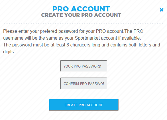 Image demonstrating Pro account password setup